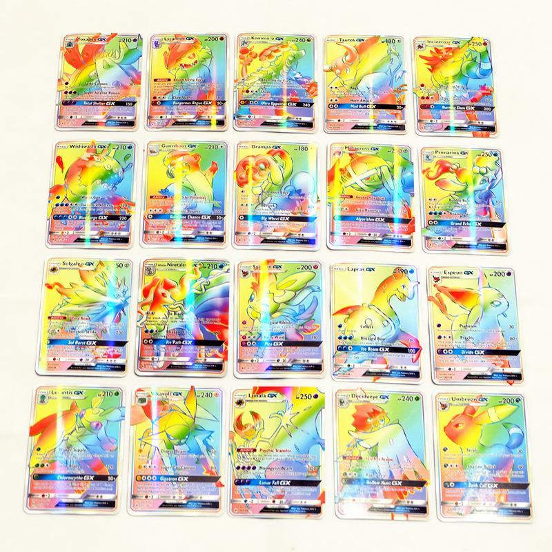 Kartları Sevimli EX Kart Set Kız ve Erkek oyunları No tekrarlayın Çocuklar için oyuncaklar Mega Kartları Oyuncak İngilizce Sürüm Poker Oyunları 100Pcs GX Koleksiyonu