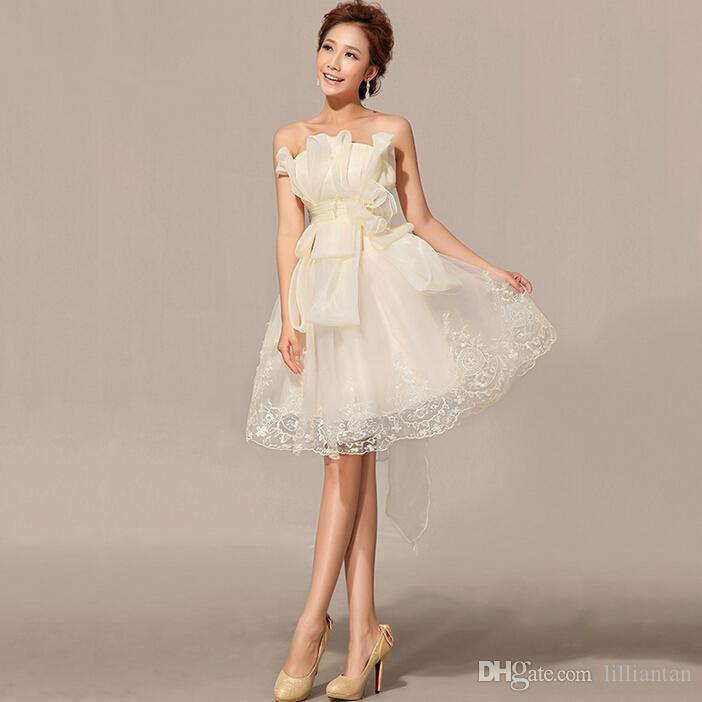Champagne 8th grade Prom Dresses Organza Cocktail Party Gowns Homecoming Dresses sweet 16 dresses short graduation short Evening Dresses