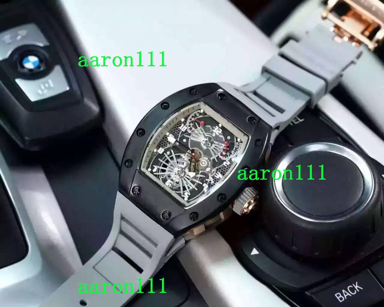 Top Marke Schwarz Edelstahl Fall RM022 Tonneau Grau Gummi Gürtel Männer Luxus Automatische Mechanische Uhr Tauch Herren Business Armbanduhren Dropship