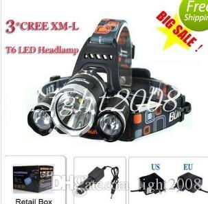 3T6 Headlamp 6000 Lumens 3 x Cree XM-L T6 Head Lamp High Power LED Headlamp Head Torch Lamp Flashlight Head +charger+car charger