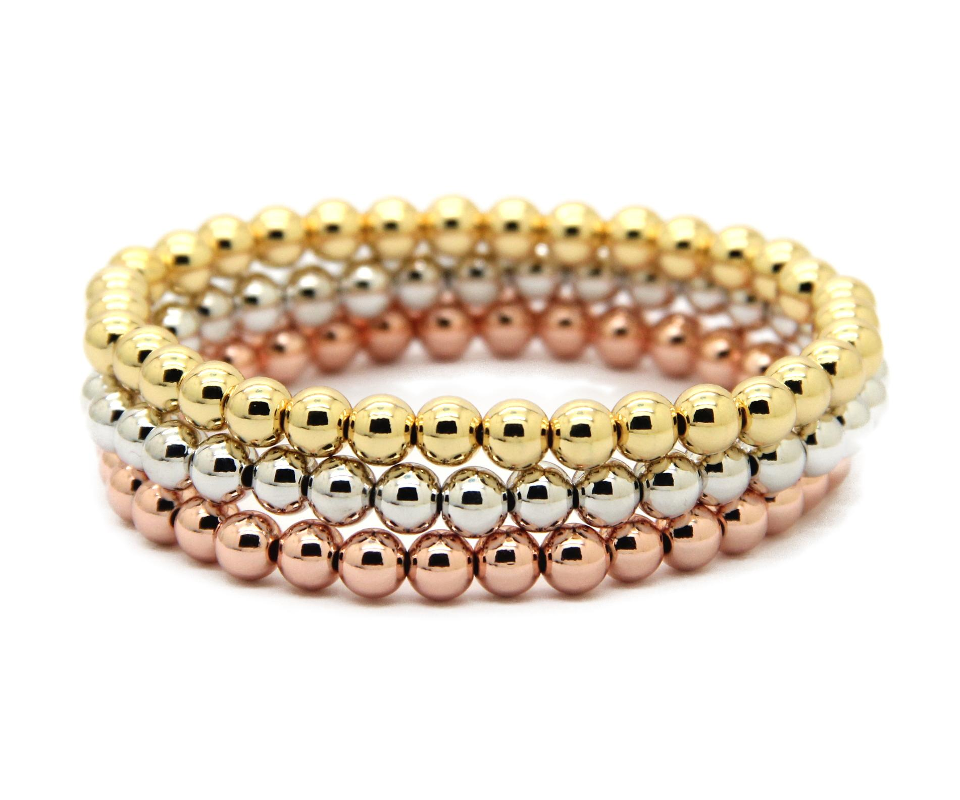 Wholesale 10pcs/lot 6mm 24K Real Gold, Rose Gold, Platinum Plated Round Copper Beads Men Woman Birthday Gifts Stretch Bracelet