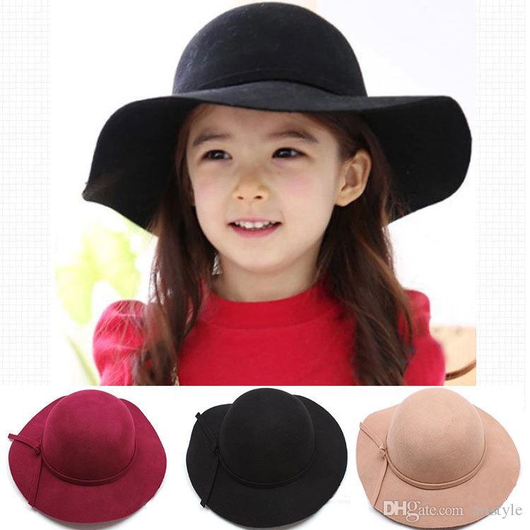 Classic Kids Girls Wide Brim 100% Wool Bowler Fedora Floppy Cloche Hat Child Cap