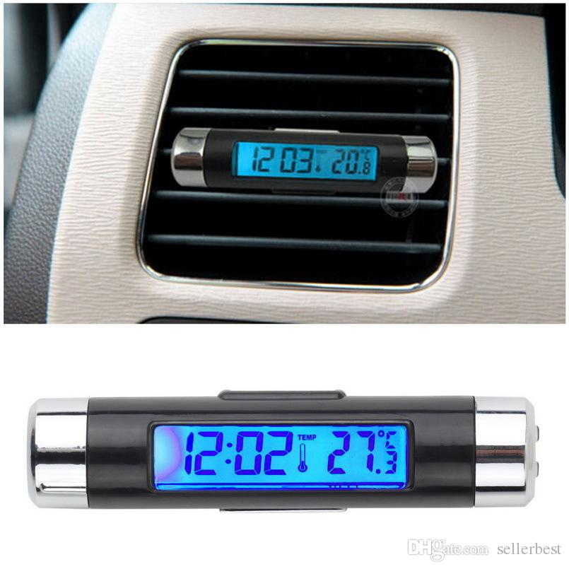 K01 Blue back light Car airvent air vent LCD Clip-on Digital Backlight Automotive Thermometer Clock Calendar