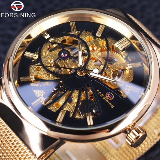Forsining 2019 패션 럭셔리 해골 캐주얼 드레싱 디자인 골든 스테인레스 스틸 남성 시계 톱 브랜드 럭셔리 기계식 시계
