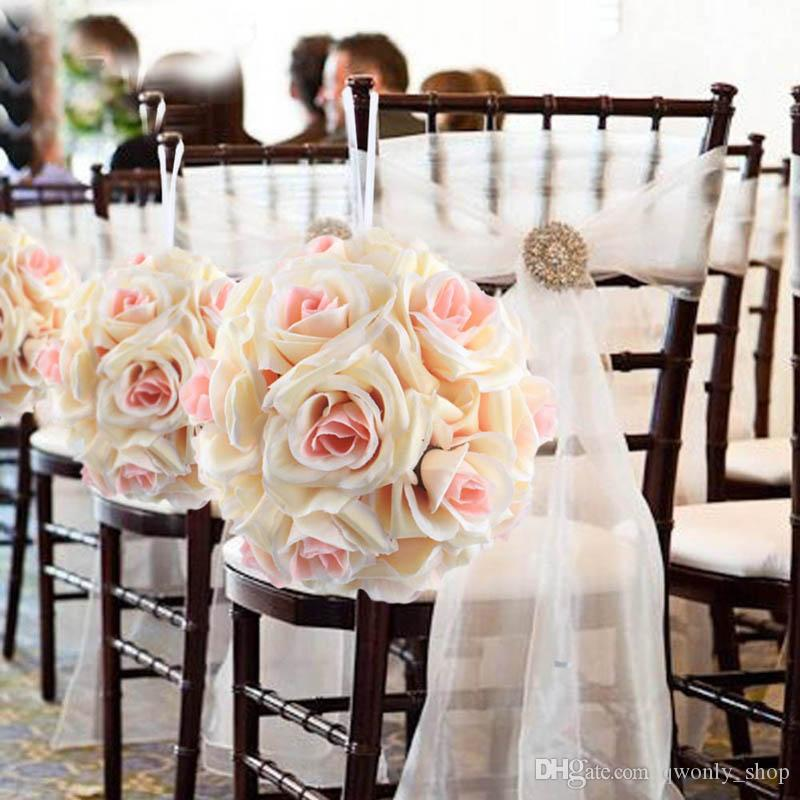 Wholesale- Artificial Silk Flower Rose Balls Wedding Centerpiece Pomander Bouquet for Wedding Party Decoration Decorative Flowers