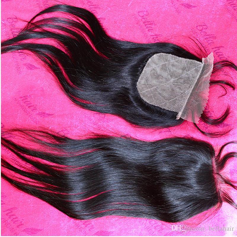 """100% nieprzetworzone brazylijskie włosy silkbaselaceClowe 10 """"-24"""" naturalny kolor jedwabisty prosty włosy bellahair"""