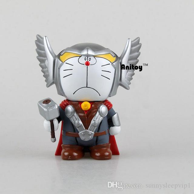 도라에몽 Cos Thor 액션 피규어 인형 돼지 저금통 동전 돈 은행 장난감 Anime Collectible Model KT044