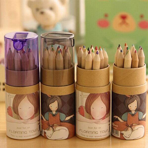 Atacado-Frete Grátis 12 Cores Artista Profissional Pintura Desenho Fino Desenhando Escrevendo Desenho Caixa De Lápis Caixa Míni Estacionário