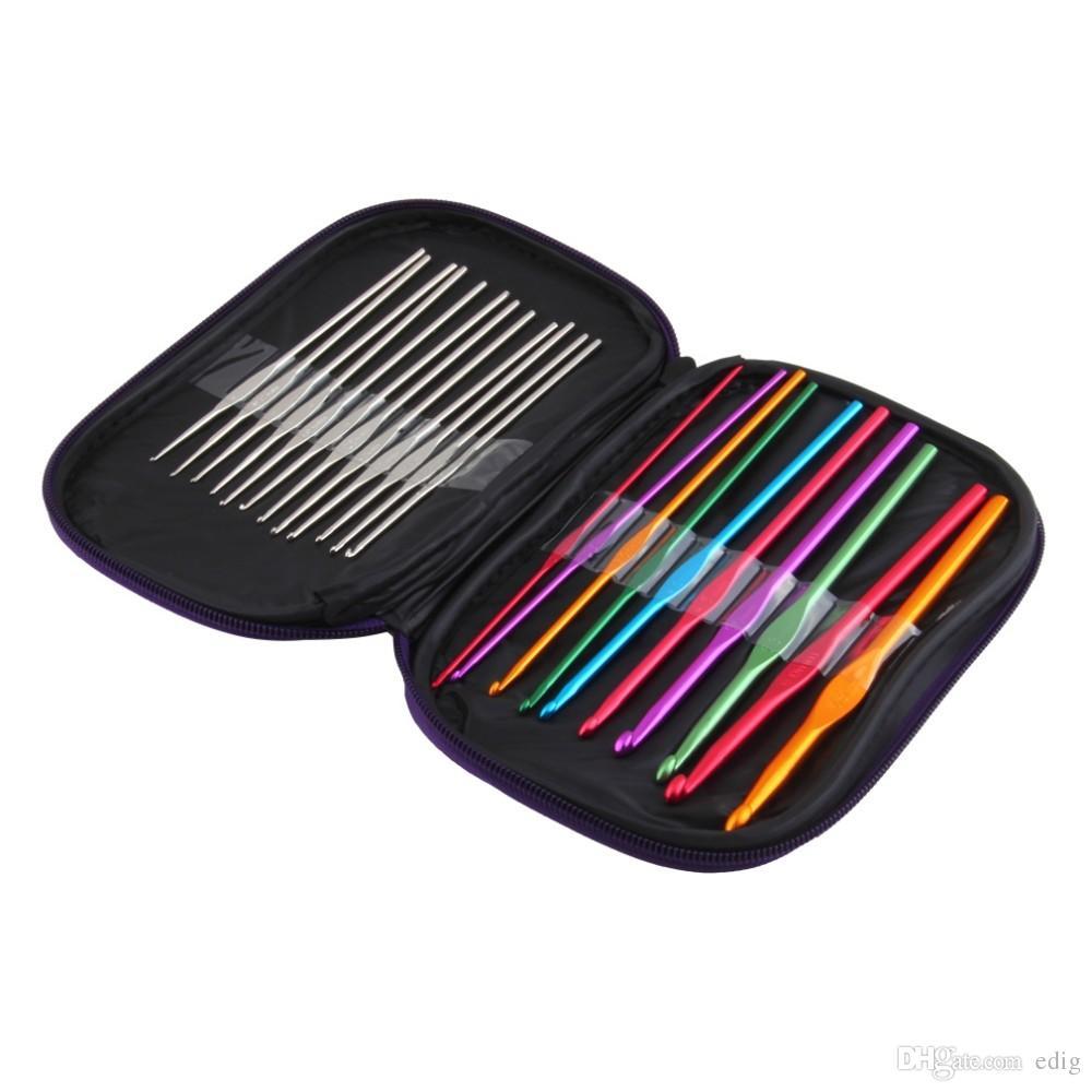22pcs/lot Multicolour Metal Aluminum Crochet Hook Knitting Kit Needles Set Weave Craft Yarn Stitches Needle Stitch