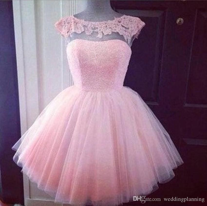 2016 Cute Short Formal Prom Dresses Pink High Neck See Through Cheap Junior  Girls Graduation Party Dresses Prom Homecoming Gowns Short Lace Dress ...