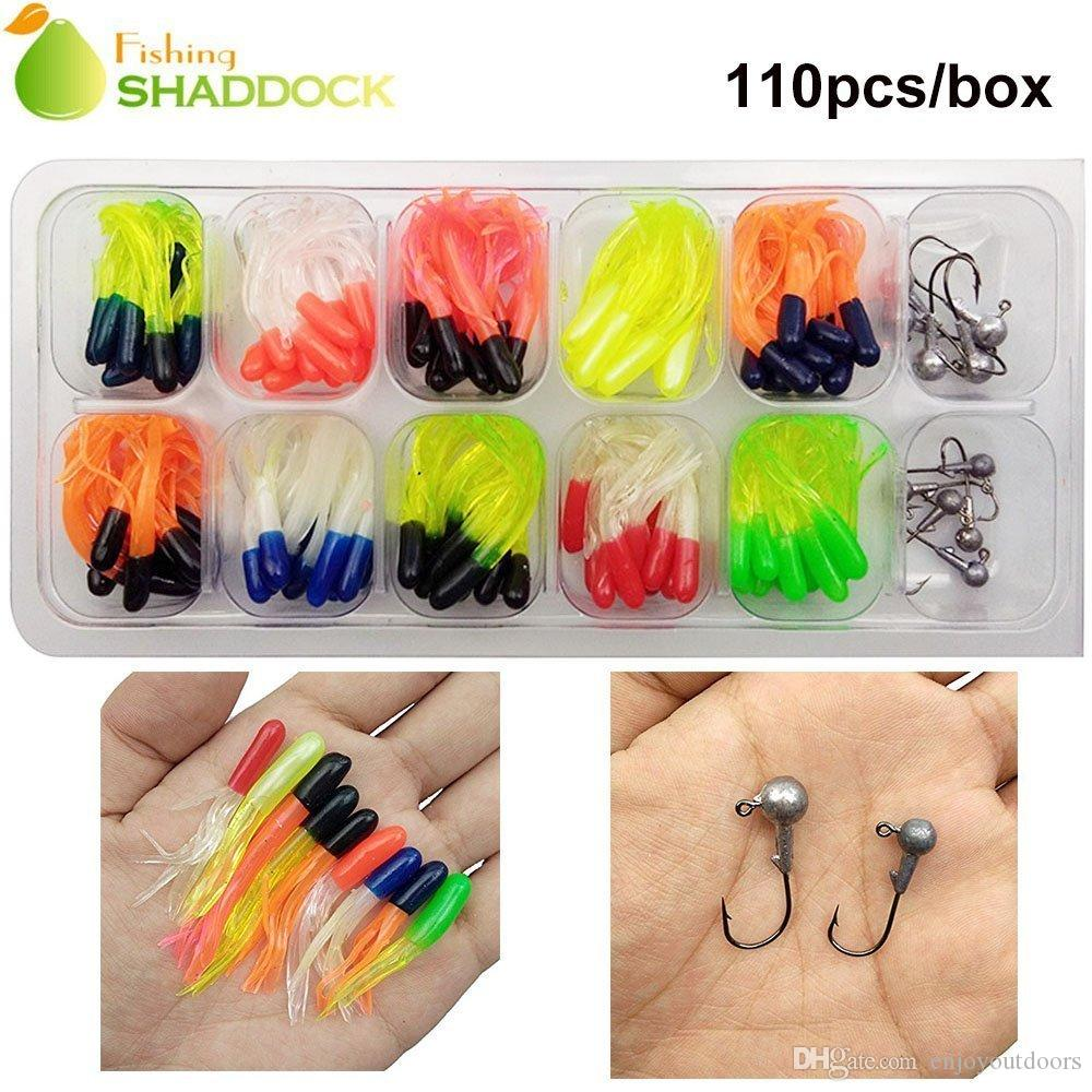 Shaddock Fishing 47-110 Piece Fishing Lures Tackle Kit Soft Pro Crappie Tube Jigs Jig Lead Heads Hooks Fish Bass Fishing Gear accessories
