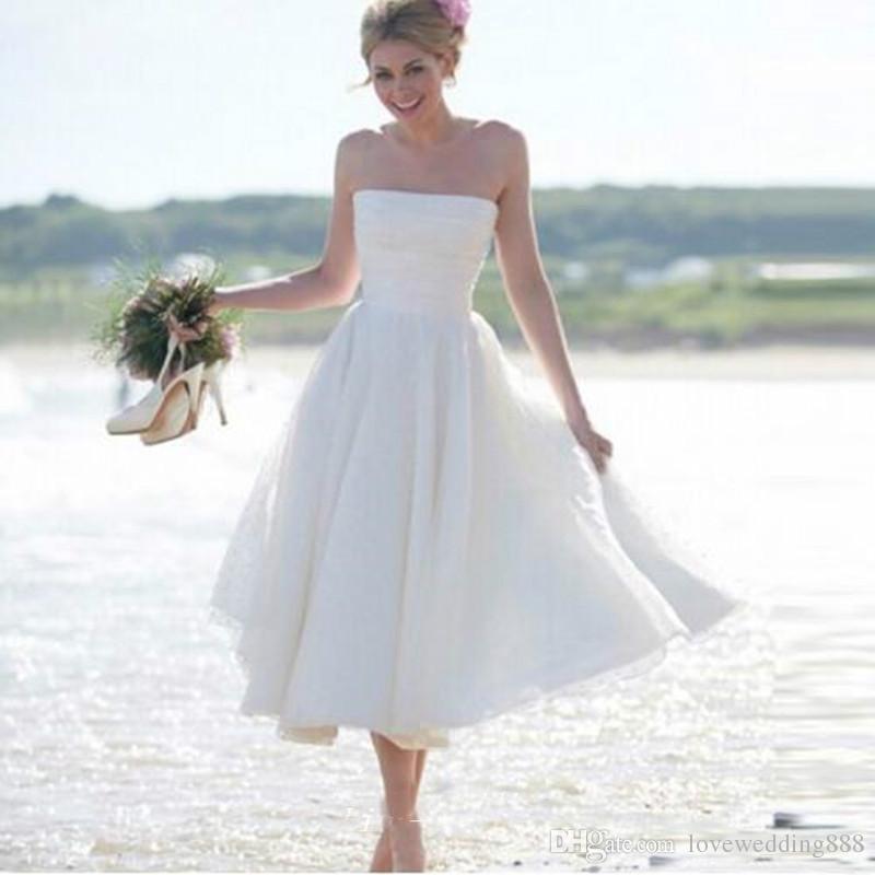 Verão Praia Strapless Chiffon Uma Linha Barato Vestidos De Casamento Bohemain Chá Comprimento de Festa de Noivas Vestidos Plus Size Curto Vestido
