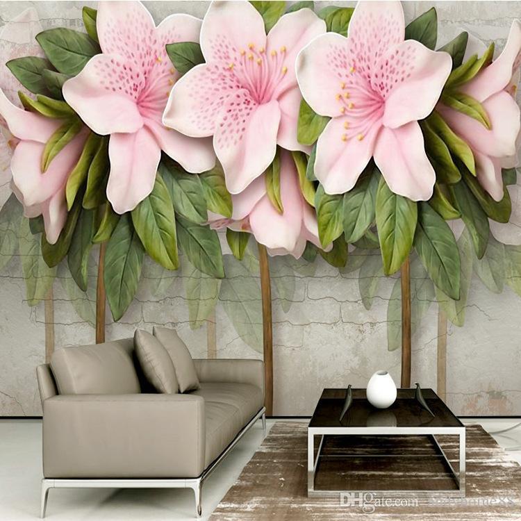 İskandinav 3d 3d kabartmalar pembe çiçekler yeşillik tuğla duvar TV arka planında otel kanepe yatak odası giriş duvar kağıdı