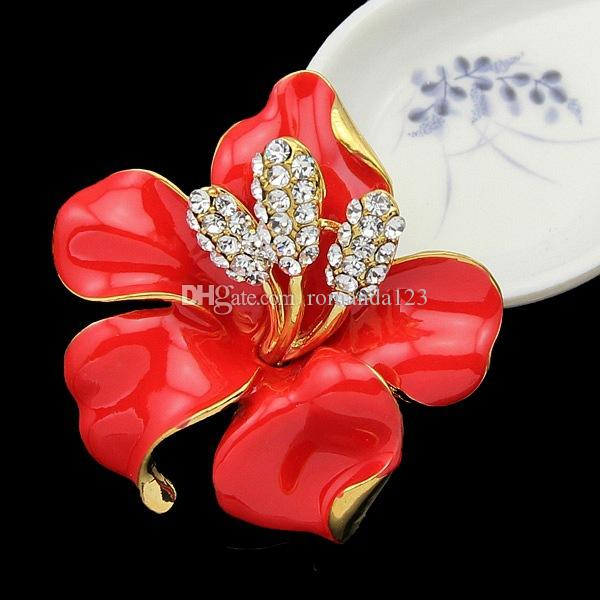 New Poppy Brooches Multicolor Pins Brooches Crystal Rhinestone Red Flowers Drip Brooch For Women Wedding Dress Low Price DHL free shipping