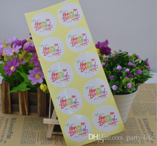 "500sheets (5000pcs) ""Happy Birthday""디자인 타원 씰 스티커 장식 스티커 선물 스티커 쿠키 씰링 레이블"