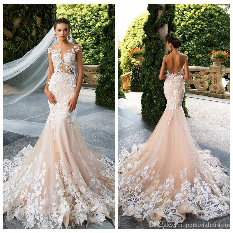 Beautiful Custom Champagne Mermaid Wedding Dresses 2018 New Lace Appliques  Sexy Sheer Backless Wedding Dress Beach Bridal Gowns Garden Slim Long ...