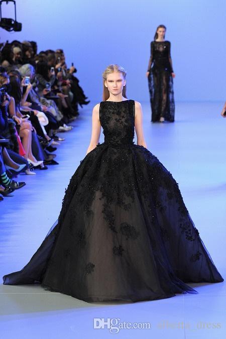 Elie Saab Noir Robes De Soirée Robe De Bal Tulle Appliques Dentelle Célébrité De Luxe Robes De Soirée Pour Les Femmes Robe Formelle Custom Made In China