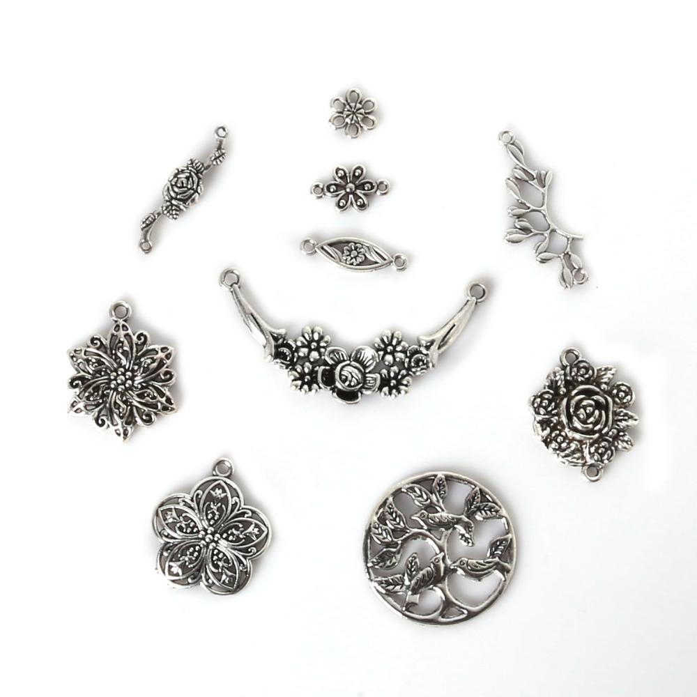 Frete grátis 70 pcs Mixed Prata Banhado A Tibetano Encantos Flor Pingentes Fazendo Jóias Diy Charme Handmade Artesanato fazer jóias DIY