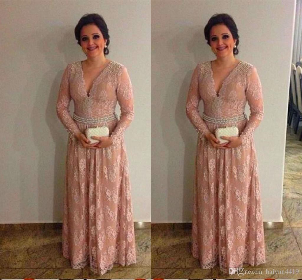 2017 Vintage Mother Off Bride Dresses V Neck Lace Blush Pink Crystal Long Sleeves Floor Length Plus Size Mother Of The Bride Dress