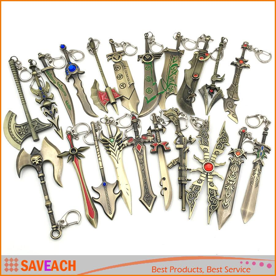 LOL league of legends Set of 10 Characters Weapons Metal Key Chain New in Box
