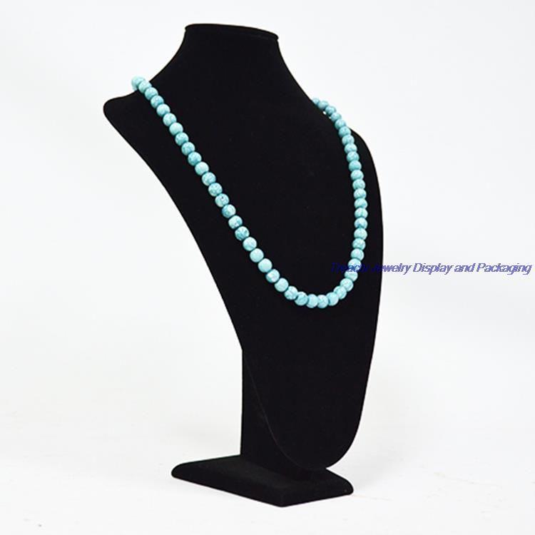 Wholesale Vertical Black Velvet Jewelry Display Neckform Wooden Large Necklace Chest Pendant Bust Stand Holder Mannequin 35CM