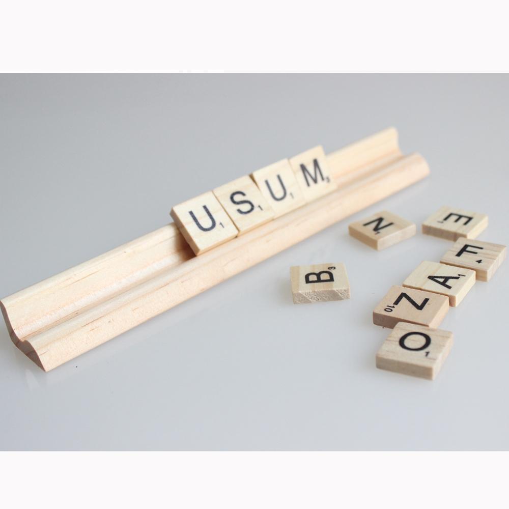 Holz Scrabble Fliesen Buchstaben Standregeln 19 cm (Länge) Keine Buchstaben Holzständer 20 Stück