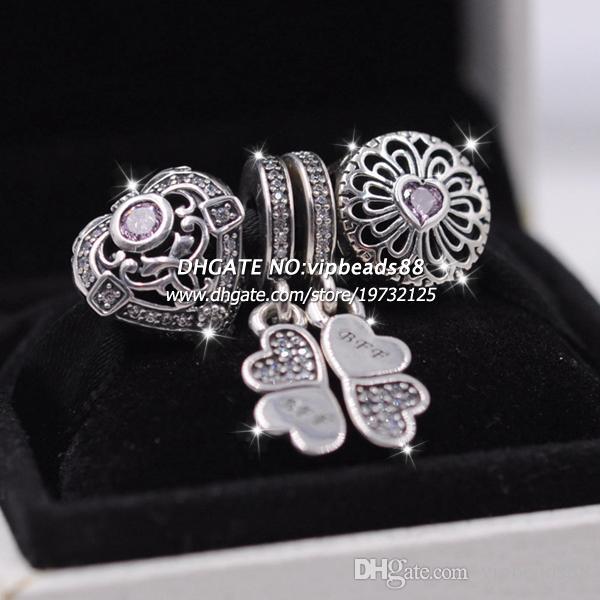 3pcs S925 Sterling Silber Love Clover Doppel-Schmuck-Set Fit europäischen Charme Armband Perlen Schmuck machen