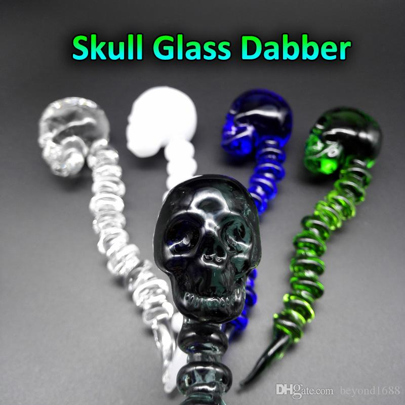 Latest Design Curved Skull Glass Dabber With 5 Colors 4.6 Inches length Glass Dabbers With Carb Cap Function For Quartz Bangers Nails