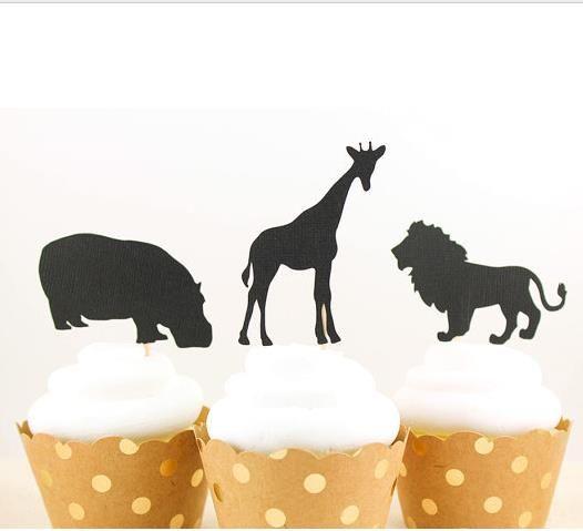 custom 30pcs Glitter Safari Animals Cupcake Toppers birthday rustic Wedding Bridal Shower Engagement Party Decoration Event Festive