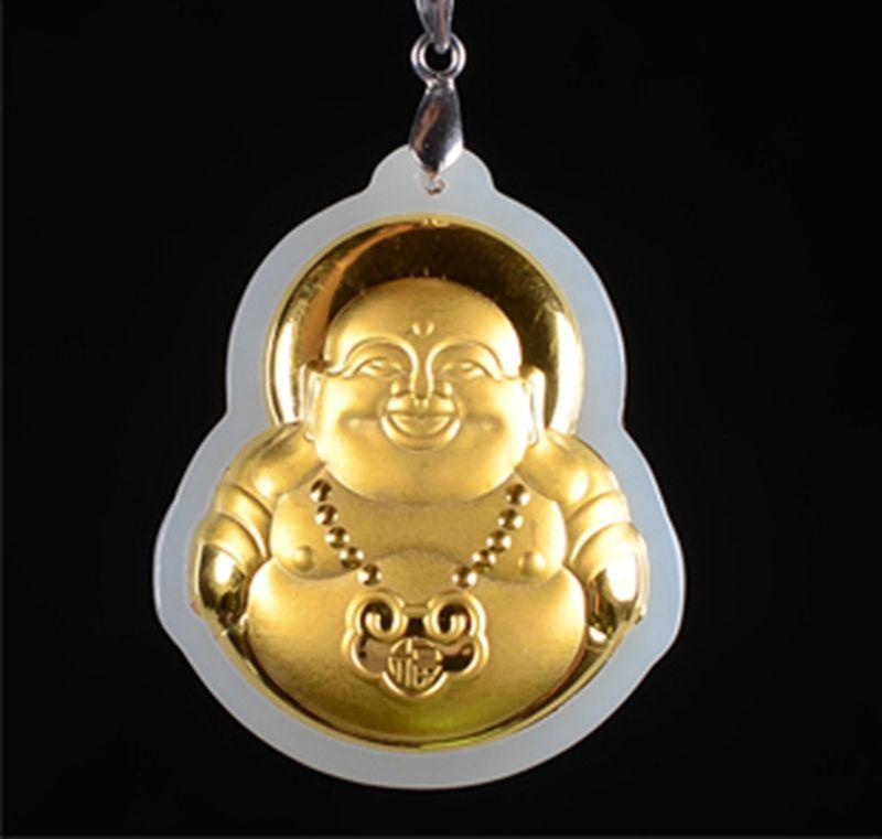 Gold inlaid with jade, long life lock - laughing Buddha (maitreya). Talisman, necklace pendant.