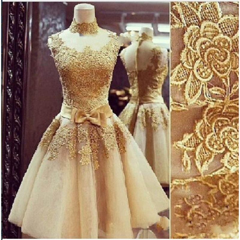 New Vintage Lace Ouro Curto Vestidos de Baile Vintage Pescoço Alto Mulheres Sheer Neck Voltar Vestidos de Noite Vestido de Festa de Formatura de Tule Applique