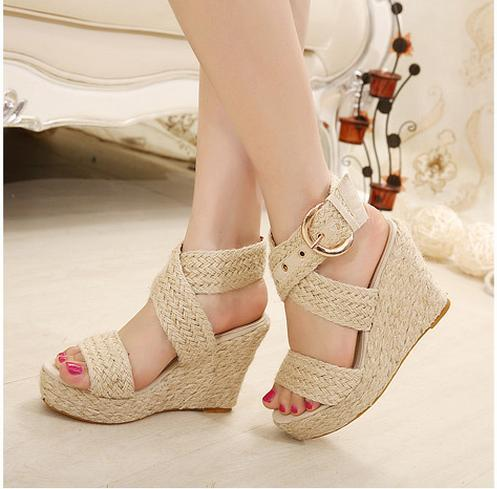 3826abddeb6 Sale Bohemian city classified natural look ankle strappy straw braided  wedges heel classic 3 colors