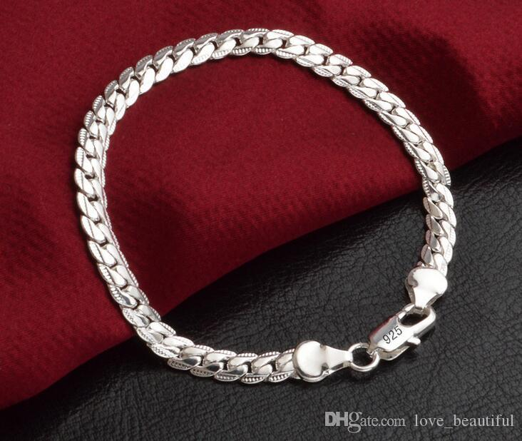 Low price Promotion! Mark 925 Bracelet Men/Boys 925 Sterling Silver Jewelry 5mm 20cm Chains 10pcs/lot