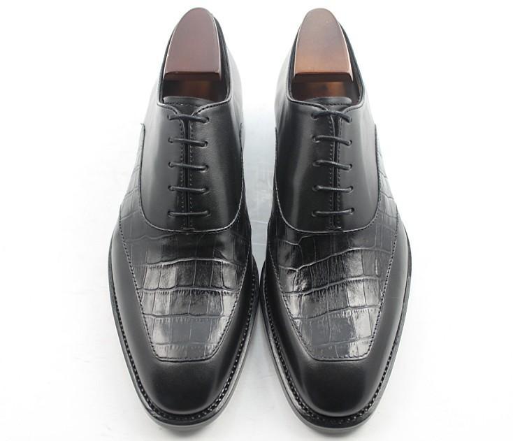 Homens Vestido sapatos homens sapatos artesanais feitos à mão sapatos Oxfords genuíno couro de bezerro Cor preta HD-233