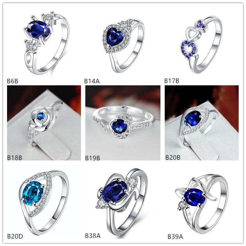 مختلط نمط عالية الجودة موضة الأزرق gemstone 925 الفضة لوحة حلقة EMGR9 ، الشريط شكل البيضاوي مطلي فضة الطوق 10 أجزاء الكثير