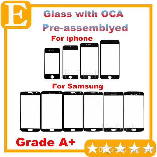 الصف A + آيفون 4 5 6 عدسة الزجاج الخارجي الأمامي مع فيلم OCA قبل تجميعها لسامسونج غالاكسي S4 S5 أسود أبيض 20PCS
