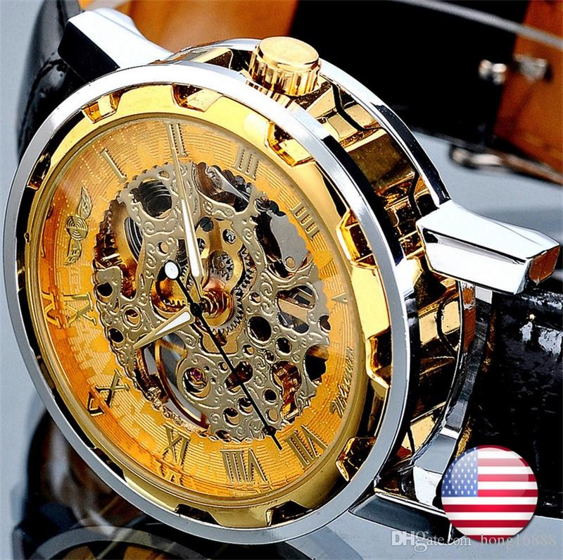 Fashion Winner Black Leather Band Stainless Steel Skeleton Mechanical Watch For Man Gold Mechanical Wrist Watch Free Shipping +product box