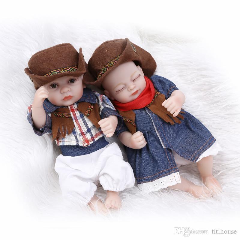 "10/"" Twins Dolls Reborn Baby Realistic Silicone Vinyl Newborn Babies Child Xmas"