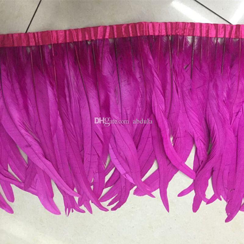 2Yards/pcs Fushia Rooster Feather Trimming Chicken Feather on Satin Coque Rooster Hackle Feather Trim Fringe Party Dress Accessories