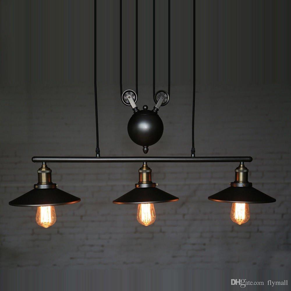 RH Lighting Retro Iron Pulley Pendant Light Loft American Vintage Industrial Pulley Rope Antique Edison Bulb Pendant Lamps Dining Room Bar