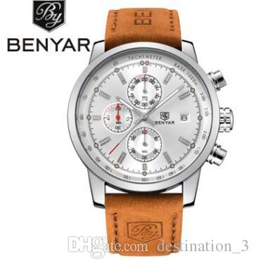 Wholesale- BENYAR Mode Chronograph Sport Herrenuhr Top-Quarz-Uhr Reloj Hombre Uhr Male Stunde relogio Masculino