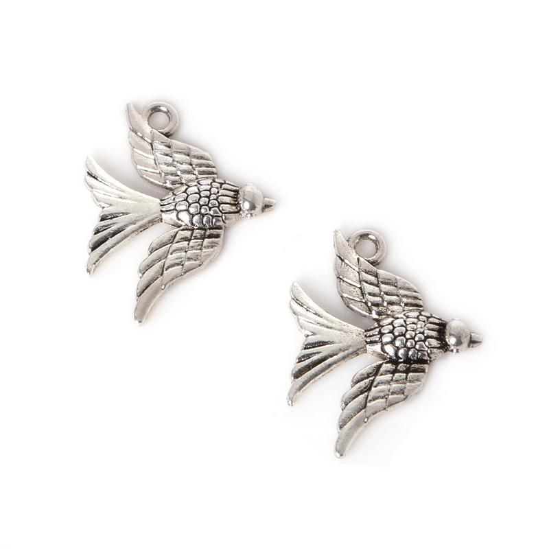 Free shipping New 7pcs 19x24mm Zinc Alloy Antique Silver Swallow DIY Charms Pendants jewelry making DIY