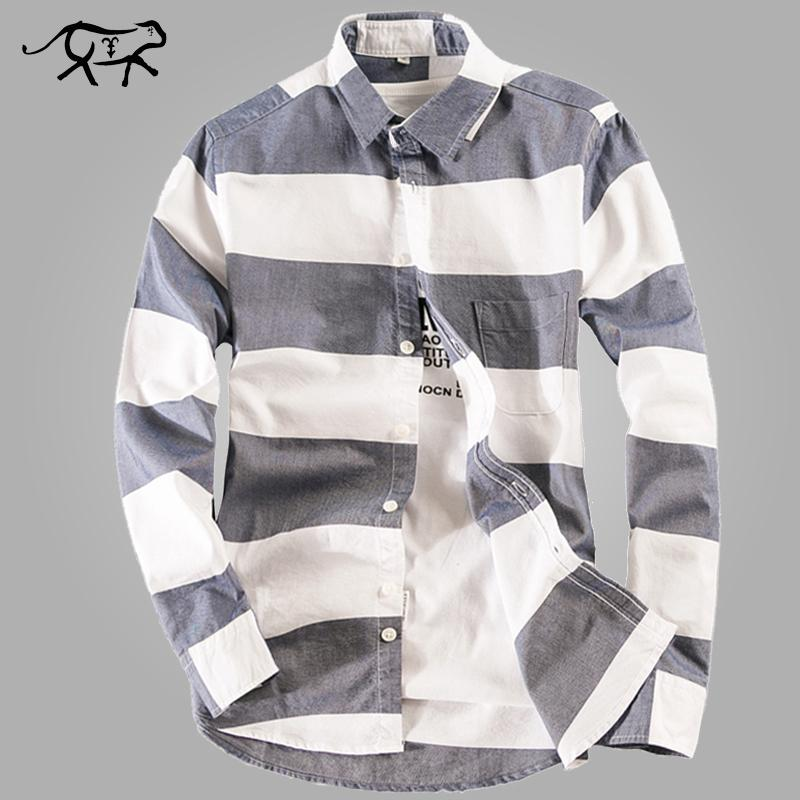 도매 - 새로운 디자인 줄무늬 셔츠 남성 캐주얼 남성 봄 셔츠 코 튼 슬림 맞는 옥스포드 긴 소매 셔츠 남성가 크기 M-4XL