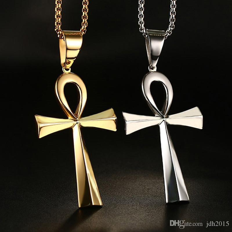 Unisex Stainless Steel Necklace Vintage the Key of the Nile Egyptian Ankh Cross