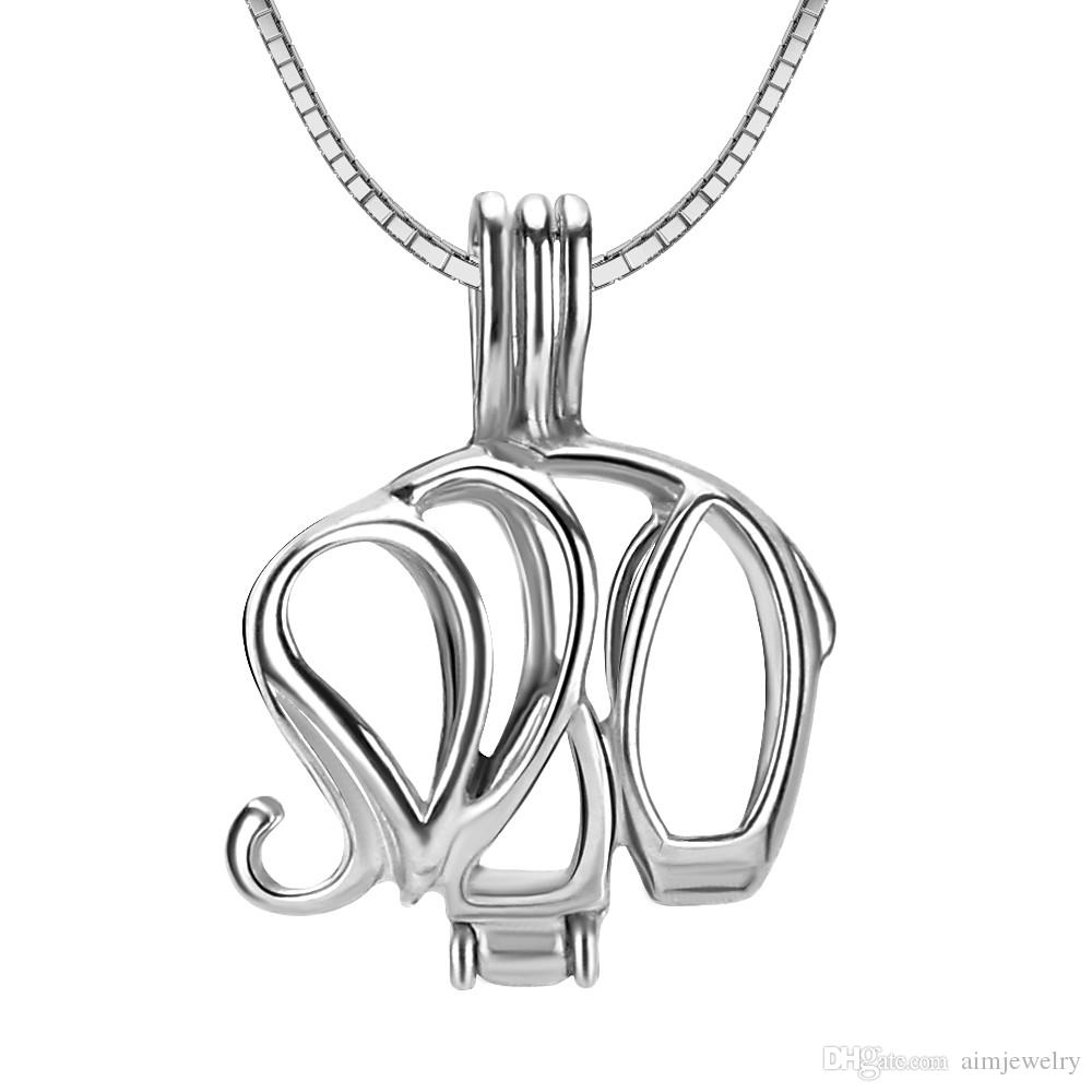 Free Shipping elephant shape sterling silver cage pendant for jewelry making and crafting Fashion Charms