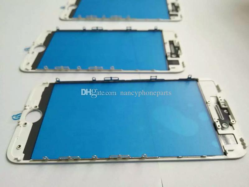 Pour l'iPhone 8 6 6S 7 Plus Avant Cadre LCD Cadre Avec Lentille En Verre Extérieur + OCA Pré-assemblé en Noir Blanc