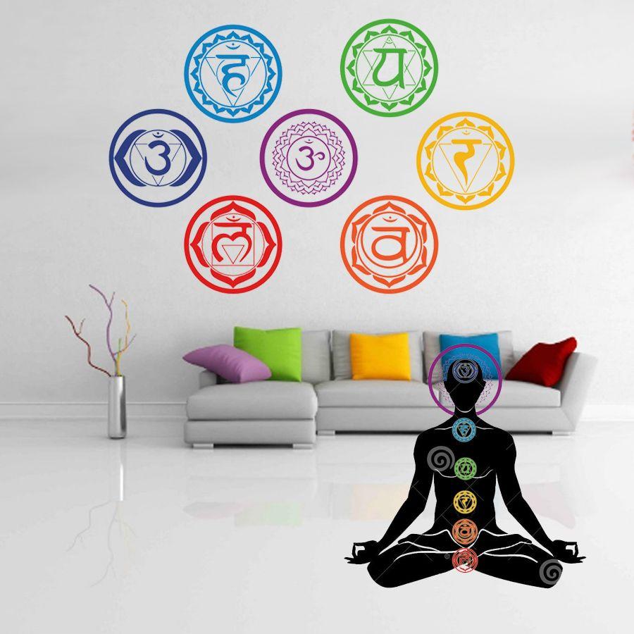 7 Unids / set 19X19 CM Chakras Wallpaper Pegatinas Mandala Yoga Om Meditación Símbolo de La Pared Tatuajes de Pared Decoración Para El Hogar