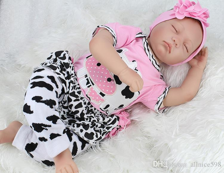 "22/"" Reborn Newborn Babies Dolls Vinyl Silicone Baby Girl Doll+Clothes Handmade"