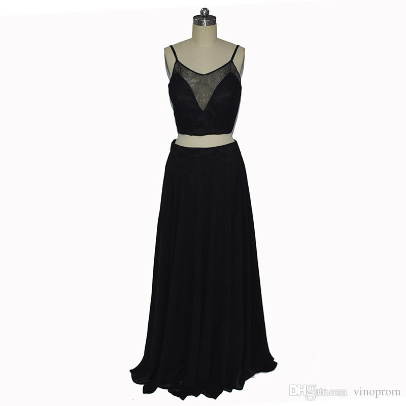 Vestidos Longos Para Formatura A-Line Occasioni speciali Twp Chiffon Nero Evening Formal Gown Prom Dreses