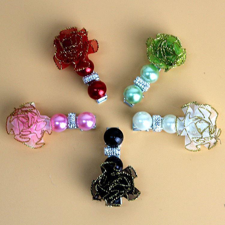 50pcs Pet dog cat hair flower pearl hairpin lovely rose knot headdress hairpin duckbill pliers pet accessories